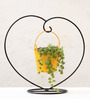 Green Gardenia Yellow Iron and Metal Heart Table Top Stand with Bucket Planter