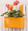 Green Gardenia Yellow Metal Railing Small Square Planter