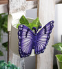 Green Girgit Butterfly White Metal Pot Planter