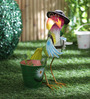 Green Girgit Hen with Hat & Glasses Planter