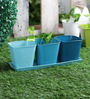 Green Girgit Herb Set Blue Metal Planter