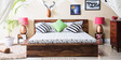 Duvall Queen Size Bed with Two Bedside Tables in Provincial Teak Finish by Woodsworth