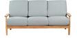 Guarulhos Grey Three Seater Sofa in Teak Oak Finish by CasaCraft