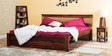 Olney King Size Bed with Upholstered Headboard in Provincial Teak Finish by Woodsworth