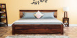 Olney Queen Size Bed with Upholstered Headboard in Provincial Teak Finish by Woodsworth