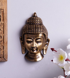 Handecor Antique Brown Brass Buddha Face Wall Hanging Showpiece