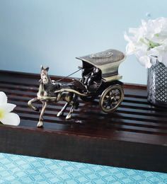 Handecor Brown Brass Big Horse Cart Showpiece
