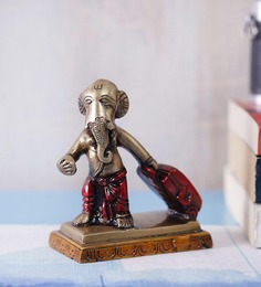 Handecor Red Brass Ganesha Carrying Showpiece