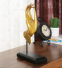 Ethnic Clock Makers Yellow Solid Wood Hand Showpiece