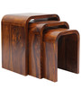 Hand Crafted Sheesham Wood Nesting Tables Set by VarEesha