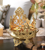 Handecor Yellow Brass Elephant & Peacock Design Urli