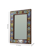Hanumant Multicolour Solid Wood & Tile Carved Framed Decorative Mirror