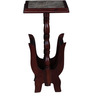 Smythe End Table Cum Magazine Rack with Bidasar Marble Top in Rose Wood Finish by Amberville