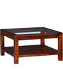 Lynden Glass Top Coffee Table in Honey Oak Finish by Woodsworth