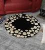 HDP Black & White Wool 32 Inch Hand Carved Tufted Round Carpet