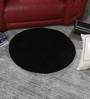 HDP Black Wool 30 Inch Hand Carved Tufted Round Carpet