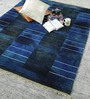 HDP Blue & Gold Wool 80 x 56 Inch Indian Hand Knotted Over Dye Carpet