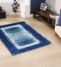 HDP Blue Polyester 39 x 20 Inch Striped & Checkered Carpet