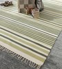 HDP Green & White Cotton 92 x 64 Inch Hand Woven Flat Weave Area Rug