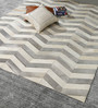 HDP Grey & White Leather 96 x 68 Inch Hand Made Carpet