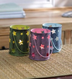 Height of Designs Multicolour Metal Star Candle Votive - Set of 3