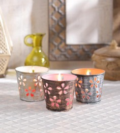 Height of Designs Multicolour Metal Petal Candle Votive - Set of 3