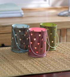 Height of Designs Multicolour Iron Heart Candle Votive - Set of 3
