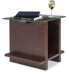Helena Coffee Table with Clear Glass Top in Rosewood Finish by Durian
