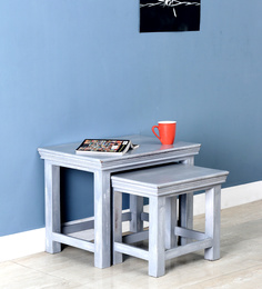 Hendrix Set of Tables in Grey Wash Finish by Bohemiana