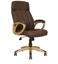 Henry Leatherette High Back Chair in Brown Colour by HomeTown
