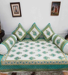 Heritagefabs Blue Cotton Anokhi 6-piece Diwan Set