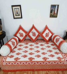 Heritagefabs Brown & White Cotton 6-piece Diwan Set