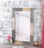 Heera Hastkala Grey & Brown Mango Wood Square Shaped Framed Mirror