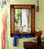 Heera Hastkala Multicolour Wooden Painted with Bottom Stand Framed Decorative Mirror