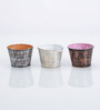 Height of Designs Multicolour Iron Leaf Candle Votive - Set of 3
