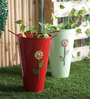 Height of Designs Red and Green Iron Floral Bucket Set