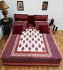 Heritage Fabs Red Cotton Motif Double Bed Sheet (with Pillow Cover) - Set of 3
