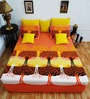 Heritage Fabs Orange Cotton Motif Double Bed Sheet (with Pillow Cover) - Set of 3