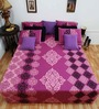 Heritage Fabs Purple Cotton Motif Double Bed Sheet (with Pillow Cover) - Set of 3