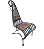 High Back Mango Wood & Wrought Iron Chair by Saaga