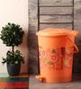 Hindz Plast Plastic Printed Orange Pedal Bin