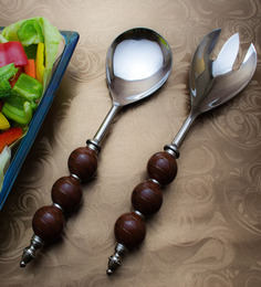 Homesake India Brown Stainless Steel 2-piece Salad Server Set