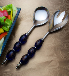 Homesake India Blue Stainless Steel 2-piece Salad Server Set