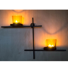 Homesake Iron Black Scorching Ladder With Pair Of Yellow Votives