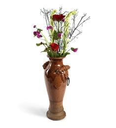 Hosley Brown Ceramic Decorative Vase