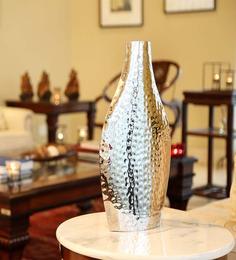 Hosley Silver Steel Hammered Flower Vase
