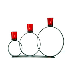 Hosley Circle Shaped 3 Cup Decorative Tealight Holder With Red Glass - G96852