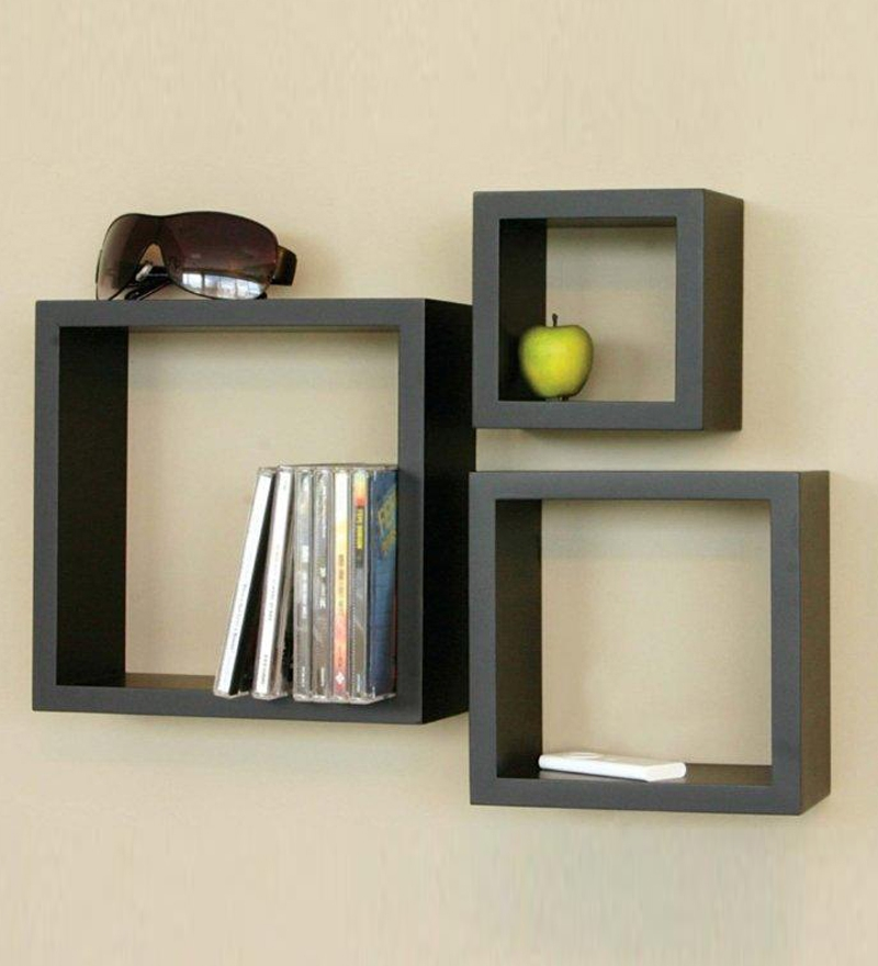 Home Sparkle Wooden Cube Wall Shelves Set Of 3 by Home