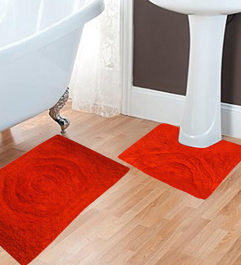 orange bath mat set