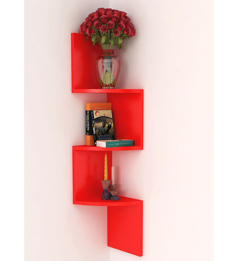 Red Wooden Wall Decor : Home sparkle red wooden wall hanging corner rack by